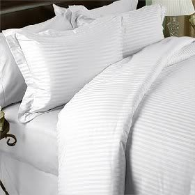 Set di lenzuola in cotone egiziano 800 fili, intero/matrimoniale, a righe bianche (tasca profonda)