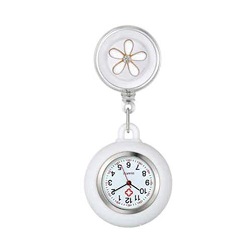 Qhome Retractable Nurse Watch, Doctor Clip-on Hanging Pendant Pocket Watch, Girls Brooch Clip-On Fob Watches, Cute Flower Pattern Lapel Watches for Men Women (White -1)