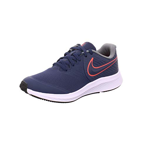 Nike Star Runner 2 (GS), Scarpe da Corsa Unisex-Bambini, Midnight Navy/Bright Crimson-Smoke Grey-Black, 36 EU