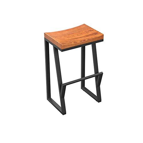 YAN JUN Tabouret haut créatif chaise de bar de loisirs chaise de bar en fer forgé chaise de bar en fer forgé chaise de café en bois massif (taille : 63cm)
