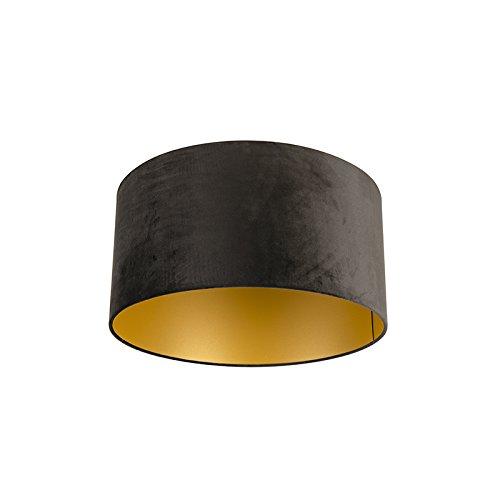 QAZQA Algodón Pantalla terciopelo negro 50/50/25 interior dorado, Redonda/Cilíndrica Pantalla lámpara colgante,Pantalla lámpara de pie