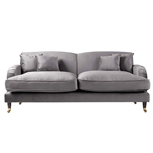 Roseland Furniture - Piper Grey Velvet Fabric Sofa for Living Room - Traditional 2 Seater - 3 Seater - Reversible Corner Chaise Couch with Footstool (Grey, 3 Seater)