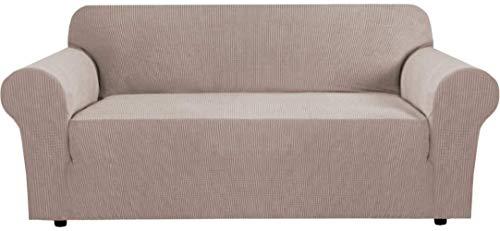 Mazu Home - Juego de 3 alfombrillas elásticas para sofá de sala de estar, funda protectora para sofá de salón, tejido jacquard suave y grueso, extraíble (sofá de 72 a 96 pulgadas: gris)