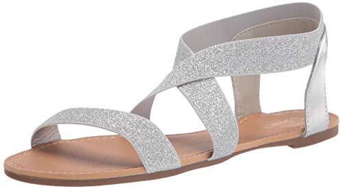 DREAM PAIRS Sandals for Women Elatica-6 Silver/Pu Elastic Ankle Strap Flat Sandals - 9 M US