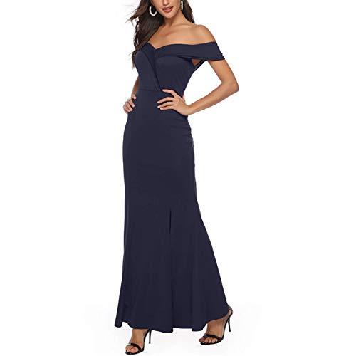 Damenkleid Europäischer und amerikanischer V-Ausschnitt Split Ärmellos Solid Color Slim Sexy Party Abendkleid Langer Rock Medium