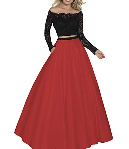 Clothfun Women's Two Piece Prom Dresses Long Sleeves Lace Pageant Dress Formal Party Gowns PM36 Black and red-8