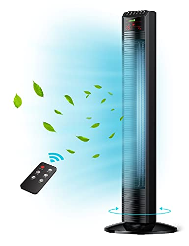 """Tower Fan, 36""""Oscillating Tower Fan with Remote, Quiet Cooling, 3 Modes ,Speed Settings, 12H Timer, LED Display with Auto Off,Black Portable Floor Bladeless Fan for Bedroom Living Rooms Office"""