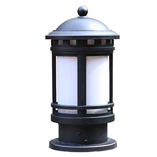 SPNEC Lámpara de Cabeza de Columna de Villa Estilo Europeo lámpara de césped Impermeable al Aire Libre Estilo Europeo lámpara de jardín Antigua lámpara de Pared de Columna