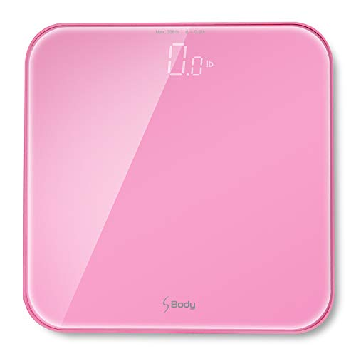 """VisionTechShop S Body High Precision Ultra Wide Digital Body Weight Bathroom Scale up to 396lb/180kg, Super-Clear Large LED Display,""""Step-On"""" Technology, Pink"""