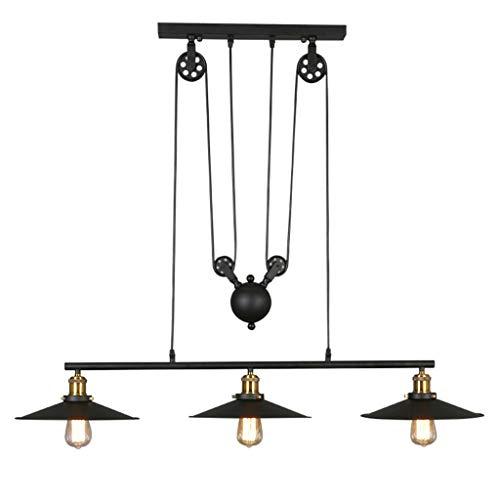 Creatieve retro kroonluchter Loft Bar industrie zwart paraplu kan omgekeerd worden kroonluchter cafe bar woonkamer lampen en lantaarns 3 hoofd E27 120 * 100 cm (maat: 120 * 100 cm)
