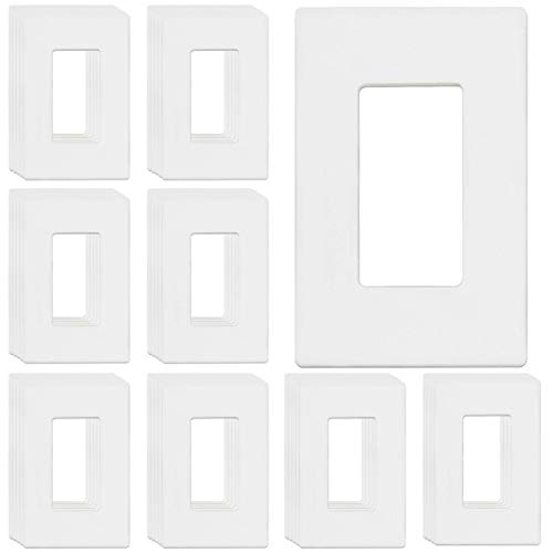 "ENERLITES Screwless Decorator Wall Plates Child Safe Outlet Covers, Size 1-Gang 4.68' H x 2.93"" L, Unbreakable Polycarbonate Thermoplastic, SI8831-W-40PCS, Glossy, White (40 Pack)"
