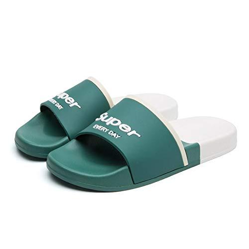 Zapatillas de Mujer Sandalias Planas cómodos Zapatos de Playa Lindos y Divertidos Piso de baño Zapatillas de casa-Verde_41