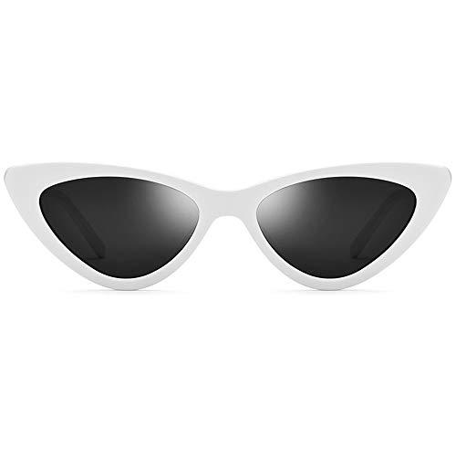 XiaoDong1 Blanco Pequeño Marco Polarizado Gafas De Sol Moda Triángulo Mujer Retro Placa Gato Ojo Gafas De Sol Lente Gris UV400 Protección