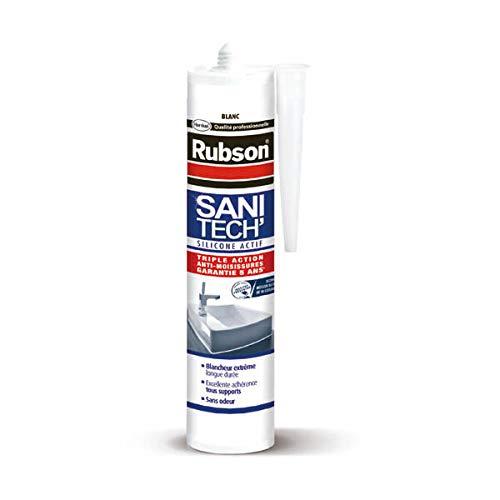 Masilla sanitaria, todos los materiales, junta de silicona neutra, sin olor, certificado Snjf, color blanco, cartucho de 280 ml