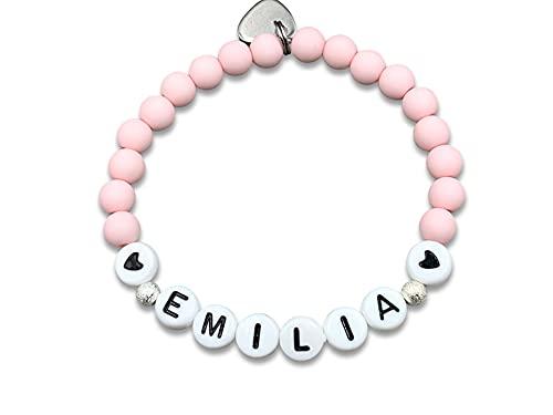 Perlenarmband mit Name Emilia rosa - Acrylperlen 6 mm - Edelsteine möglich Rosenquarz Aventurin Granat - Größe 13 cm für Kinder bis 22 cm - Geschenk Freundschaft und Liebe - handmade - personalsierbar