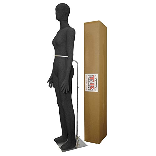 Female Mannequin, Flexible Posable Bendable Full-Size Soft -Black, by TK Products, Great for Costumes