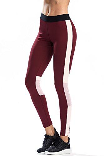 SILIK Frauen elastisch Fitnesshose Netzgewebe Muster Sporthose, Dunkles Rot und Schwarz, S