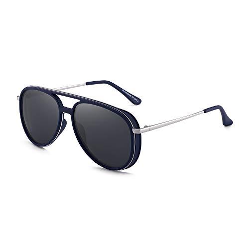 GLINDAR Gafas de Sol de Aviador Polarizadas Retro Hombres Mujeres Gafas de Conducción de Plástico Ligeras Marco Azul Plateado / Lente Gris