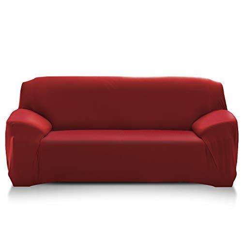 PETCUTE Fundas de sofá elasticas Protector de sofá Funda Elastica Chaise Longue Cubre Sofa Elastico Funda Sillon Vino Rojo 3 plazas