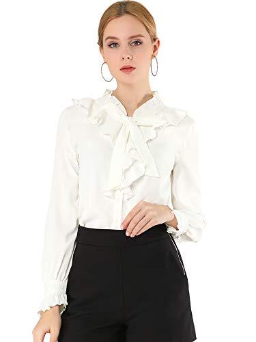 Allegra K Blusa De Trabajo Sólida Cuello con Volantes Corbata Puño con Volantes Botones Delantero Camisa para Mujer Blanco S