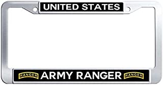 Nuoyizo United States Army Ranger License Frame tag Handmade Metal Waterproof Stainless Steel Car Tag Holder with Bolts Washer Caps for US Standard