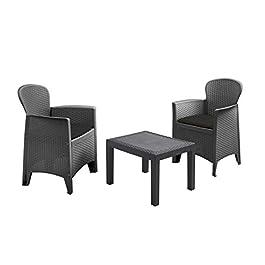 Ensemble de meubles de jardin en rotin anthracite – 2 fauteuils avec coussins + table de jardin – Salon de jardin en…