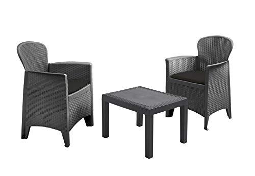 Conjunto de muebles de jardín de ratán antracita – 2 sillas con acolchado + mesa de jardín – Juego de muebles de jardín – Conjunto de muebles de jardín de ratán