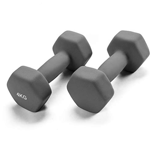GJQ Hantel Gewicht, massives Gusseisen Farbe Hantelset, 1 kg / 2kg / 3kg / 4kg, Hex Rubber Langhantelset für Strength Core Training Fitness Fitnessgeräte, Set 2,Grau