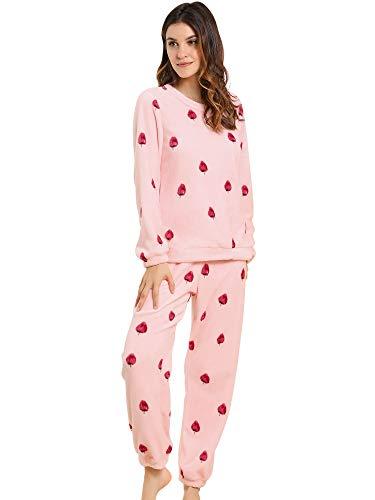 Allegra K Winter Flannel Pajama Sets for Women Cute Printed Long Sleeve Nightwear Top and Pants Loungewear Soft Sleepwears X-Large Strawberry Printed Pink