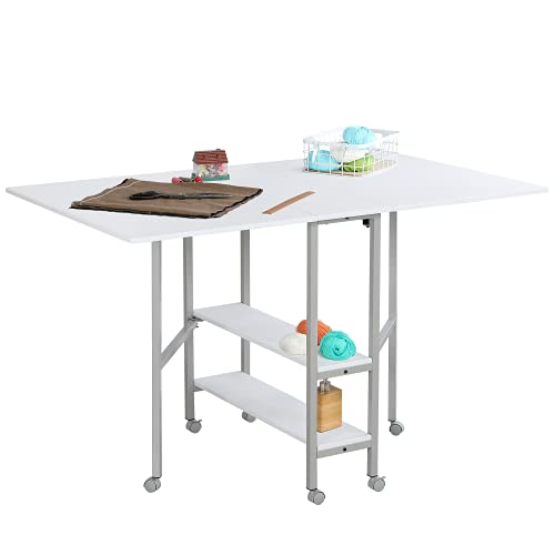 MELLCOM Mobile Folding Cutting Table for Large Fabric Home Hobby Craft Table with Storage Shelves Foldable Table for Home Office Sewing Room Craft Room