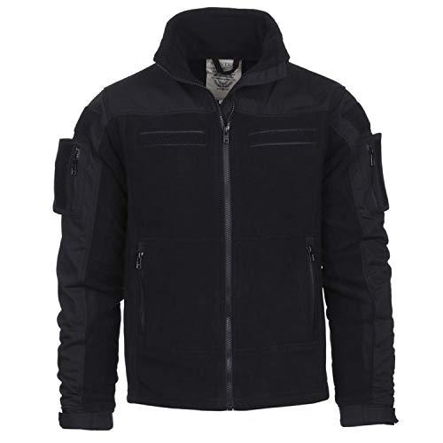 Tactical Commando Fleecejacke Security Jacke schwarz Fleece Vest Dienst #13415, Größe:XL, Farbe:Schwarz