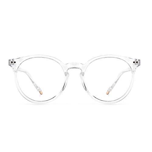 YOJUED Blaulichtfilter Brillen, ohne Sehstärke Computerbrille Frauen Männer Vintage runder Rahmen Klare Linse Anti Eyestrain Kopfschmerz Brille (Transparent)
