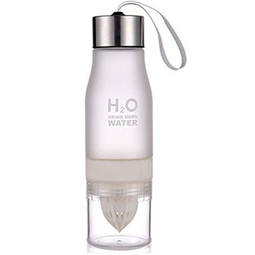 SHUJINGNCE Neue 650ml Wasserflasche Kunststoff Frucht Infusion Flasche Infuser Getränk Outdoor Sportsaft Zitrone Tragbare Wasserkocher (Color : Straw)