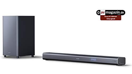 SHARP HT-SBW460, 3.1 Dolby Atmos- Barra de Sonido con Sonido Envolvente Virtual 3D y subwoofer inalámbrico, Bluetooth, Experiencia 4K, HDMI ARC/CEC, y Potencia Total de 440 W Color Negro