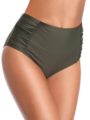 SHEKINI Ropa de Baño para Mujer Traje de Baño Vintage Cintua Alta Bikini Fondo Sexy Volantes Natación Retro Fruncido Estilo Trjes de Baño(X-Large, B-Ejercito Verde)