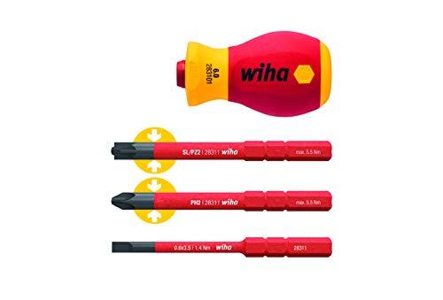 WIHA 41230 Destornillador electric, Rojo/Amarillo, Set de 4 Piezas