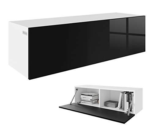 RODRIGO TV Lowboard Hängeboard Board TV Schrank Sideboard Hochglanz 105 cm Länge (korpus matt weiß + Front schwarz Hochglanz)