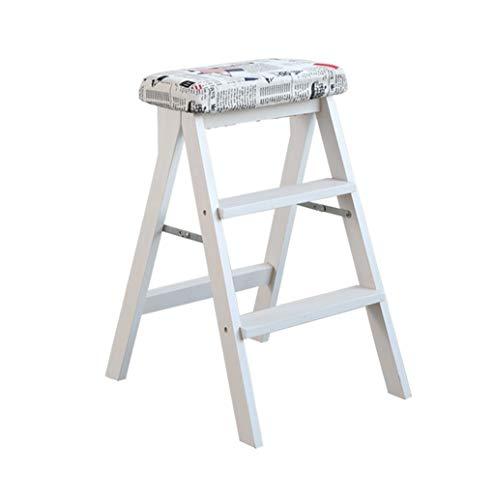 WEHOLY Barhocker Esszimmerstuhl Sessel Klappstufen Massivholz Leiter Hocker Klappbar Weiß Hocker-Bein Stufen Hocker Starke multifunktionale Holzküche Büro Verwenden Sie Leiterstuhl mit 3 Stufen