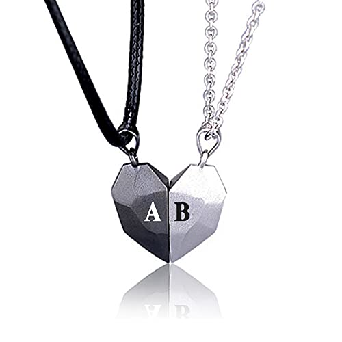 2 PCs Personalized Matching Necklace for Couples, Magnetic Broken Heart Necklace with Name Friendship Pendant Choker Jewelry Gifts for Him and Her on Valentine's Day