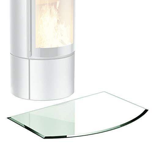 bijon® Glasplatte für Kaminofen Segmentbogen mit Dichtlippe Glasbodenplatte - Funkenschutzplatte Glas | Kamin Hitzeschutz | 65 x 120 cm – 8 mm ESG Kamin-Bodenplatte