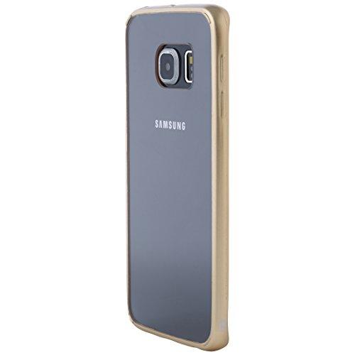 Ultratec Funda protectora híbrida para smartphone / carcasa con borde de TPU de color para Samsung S6 edge, con funda con cremallera, transparente/oro