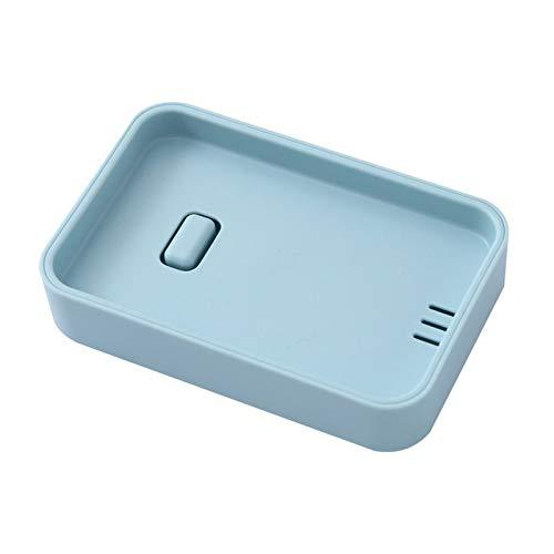 LYPSGZNfeizh Soap Box, 1 Piece Plastic Soap Dish, Creative Handmade Soap Dish, Square Soap Dish, Soap Dish, Bathroom Double Drain Soap Dish (Color : Blue)