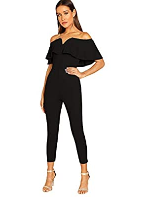 Verdusa Women's Elegant Off Shoulder Ruffle High Waist Long Jumpsuit Black M