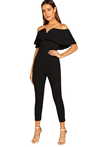 Verdusa Women's Elegant Off Shoulder Ruffle High Waist Long Jumpsuit Black S