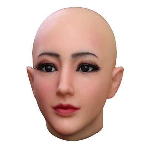 U-CHARMMORE Medical Silikon Beauty Beadpiece mit realistischem Kopf- und Gesichts-Make-up für Crossdresser Transvestite Halloween Drag Queen (Farbe 1 Elfenbeinweiß)