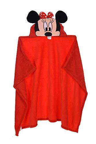 Minnie Maus Badetuch Bademantel Kapuzen Badeponcho Poncho für Kinder aus Fleece, 80 x 120 cm, rot
