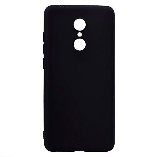 cuzz Funda para Xiaomi Redmi 5 Plus+{Protector de Pantalla de Vidrio Templado} Carcasa Silicona Suave Gel Rasguño y Resistente Teléfono Móvil Cover-Negro
