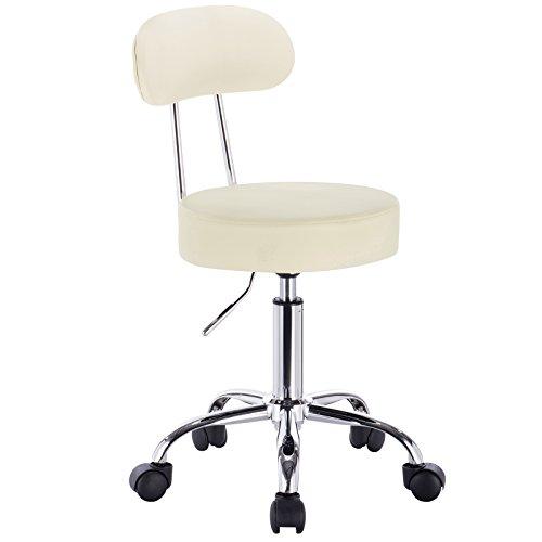 WOLTU® 1 Stück Arbeitshocker Drehhocker Rollhocker Drehstuhl Hokcer Bürostuhl mit Lehne höhenverstellbar Creme BH34cm-1