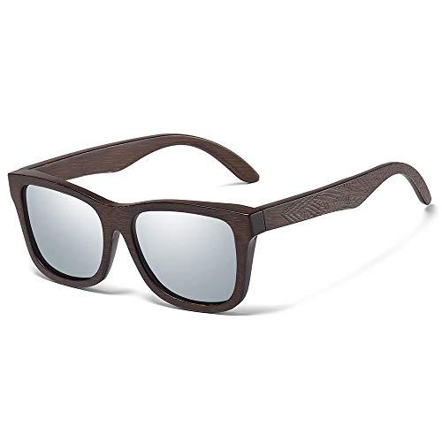 Gafas De Sol Hombres,Gafas De Sol De Bambú De Madera Hombres Mujeres Moda Conducción Estilo De Playa Gafas De Sol De Madera Retro Uv400-F