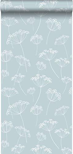 Tapete Doldenblütler Hellblau und Weiß - 139102 - von ESTAhome.nl